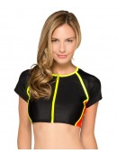 Women's HB Solid Zipper Swim Top