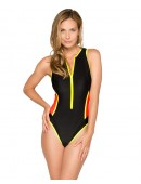 Women's HB Solid Zipper One Piece Swimsuit