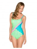 Women's HB Checkers Splice One Piece Swimsuit