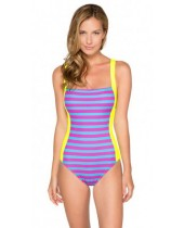 Women's HB Stripes Deep-V Back One Piece Swimsuit