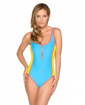 Women's HB Solid Zipper Low Back One Piece Swimsuit