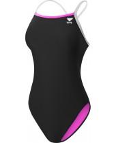 Women's TYR Pink Durafast Lite Solid Brites Diamondfit Swimsuit