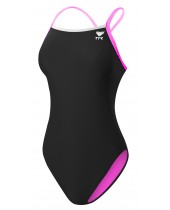 Women's TYR Pink Durafast Lite Solid Brites Diamondfit Swimsuit