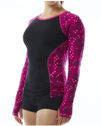 Women's TYR Pink Cadet Aria Long Sleeve Swim Shirt