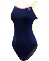 Women's TYR Pink Durafast Lite Solid Brites Trinityfit Swimsuit