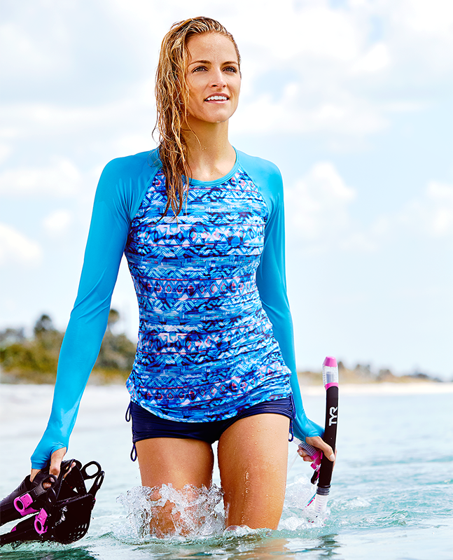 Shop The Look - Sundrata Belize Long Sleeve Rashguard & Solid Della Boyshort