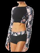 TYR Pink Women's Maya Long Sleeve Crop Rashguard- Padma