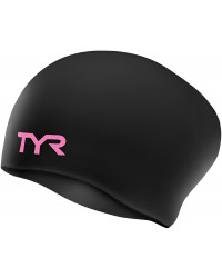 TYR Pink Long Hair Wrinkle-Free Silicone Adult Swim Cap