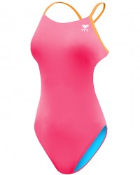 TYR Girls' Solid Durafast One Cutoutfit Swimsuit