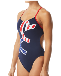 TYR Women's Big Logo USA Cutoutfit Swimsuit