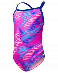 TYR Girls' Dreamland Addy Diamondfit   - Pink/Multi