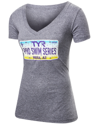 TYR Women's Pro Series Mesa License Plate V-Neck Tee