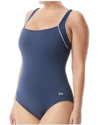 Women's Solid Square Neck Controlfit Swimsuit