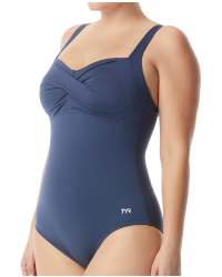 Women's Solid Twisted Bra Controlfit Swimsuit