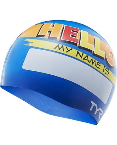 TYR Hello My Name Is Silicone Youth Swim Cap