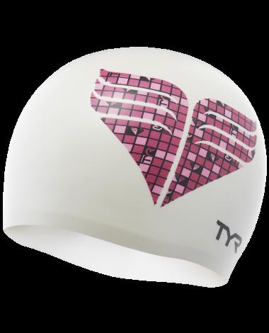 TYR Pink Chevron Silicone Adult Swim Cap